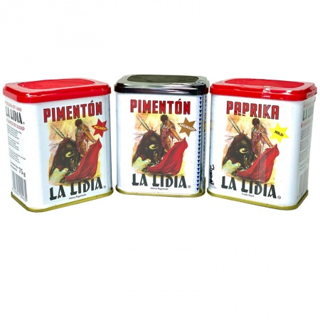 3 x 75g pack, Pimentón la Lidia (Sun dried  sweet, smoked & hot)