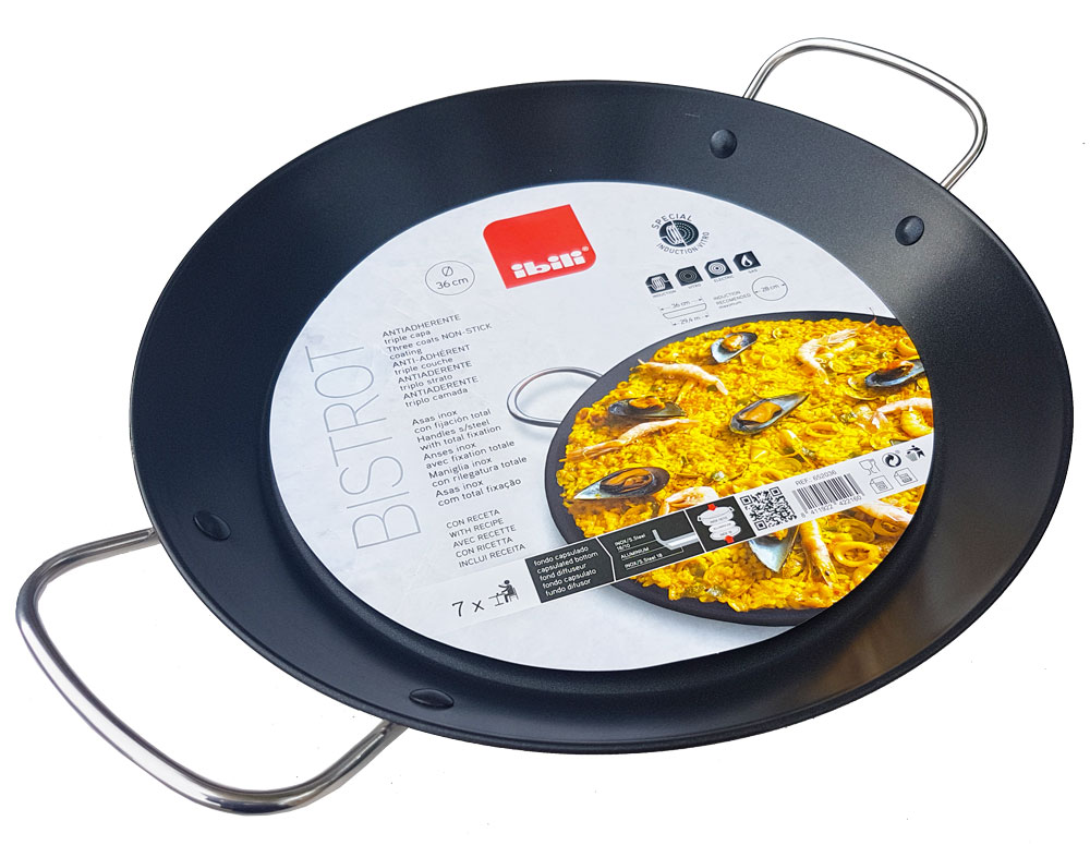36cm Non-Stick Stainless Steel Paella Pan for Ceramic, Induction & AGA hobs