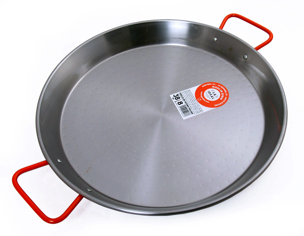 38cm Polished Steel Paella Pan - Garcima