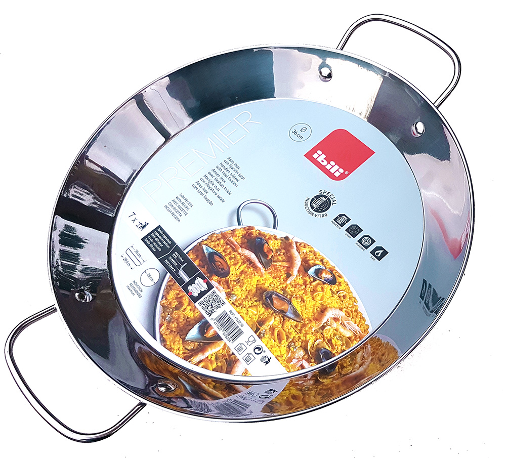 36cm Stainless Steel Paella Pan for Ceramic, Induction hobs & AGA's