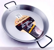 34cm Polished Steel Paella Pan for Ceramic, Induction & AGA hobs
