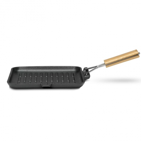 22cmx 22cm Wooden Handled Cast Iron Griddle
